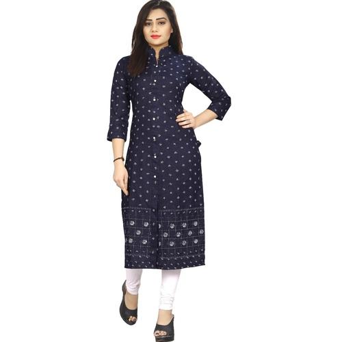 Fasdest Women/Ladies Straight Long Office-wear Cotton-Denim  Kurti