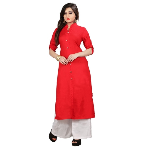 Fasdest Women/Ladies Straight Long Office-wear Rayon RED  Kurti