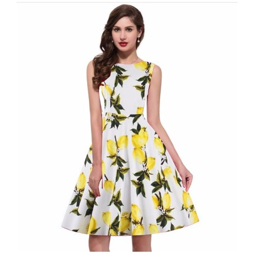 Fasdest Lemon Yellow Dress