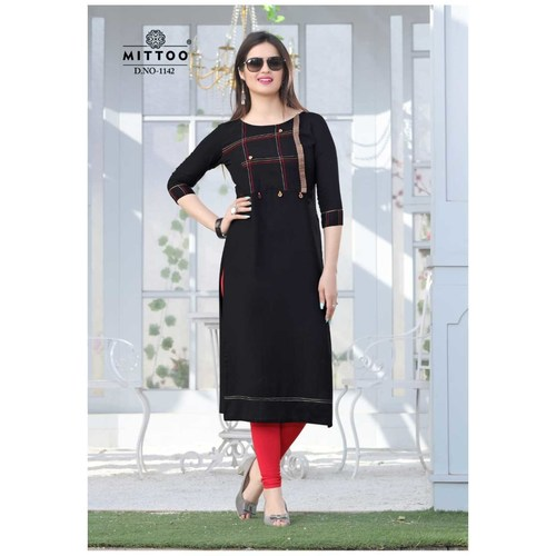Fasdest Ladies/Women Rayon Designer Straight side-cut Long Kurti /Kurta/Top(1142)