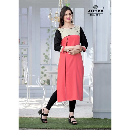 Fasdest Ladies/Women Rayon Designer Straight side-cut Long Kurti /Kurta/Top (1145)