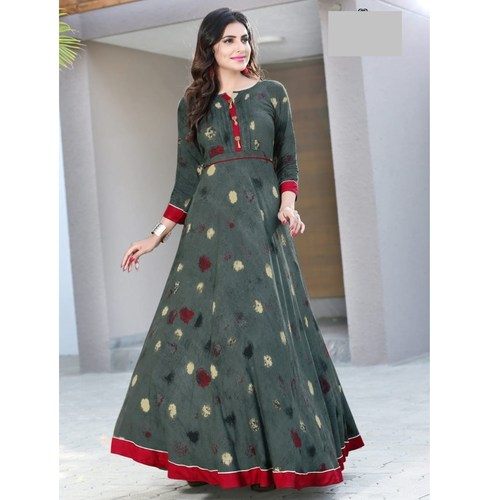 Fasdest Women/Ladies Long Full Flair Heavy Rayon  Kurti /Gown