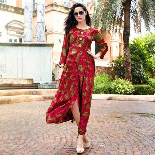 Fasdest Women/Ladies Long  Designer Rayon  Kurti /Gown/Dress