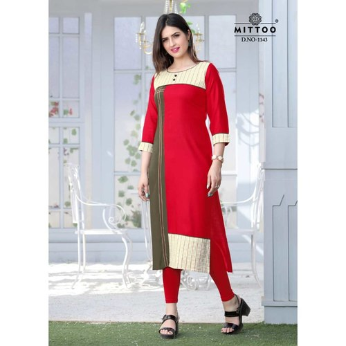 Fasdest Ladies/Women Rayon Designer Straight side-cut Long Kurti /Kurta/Top (1143)