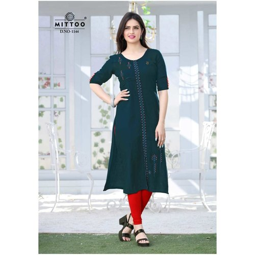 Fasdest Ladies/Women Rayon Designer Straight side-cut Long Kurti /Kurta/Top (1144)