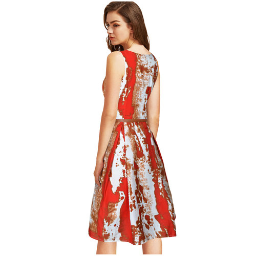 Fasdest Heavy American Crepe Sleevless  Western Dress