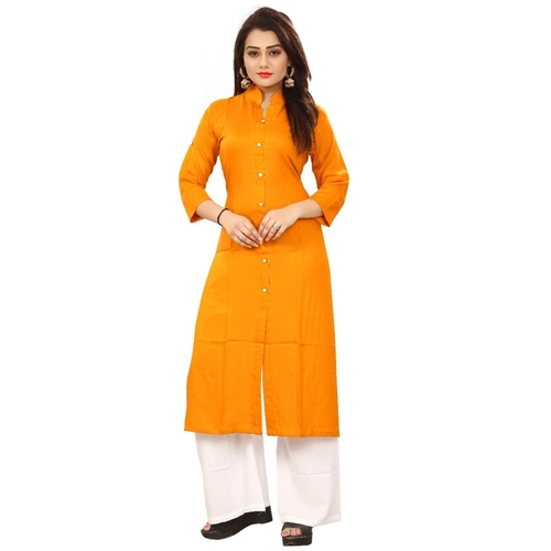 Fasdest Women/Ladies Straight Long Office-wear Rayon Mustard Kurti