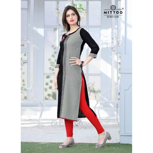 Fasdest Ladies/Women Rayon Designer Straight side-cut Long Kurti /Kurta/Top (1139)