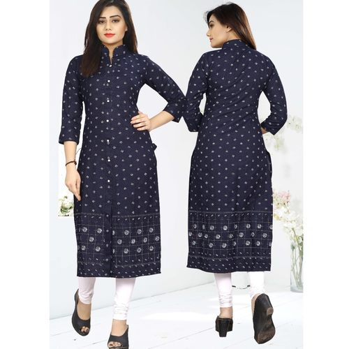 Fasdest Women/Ladies Straight Long Office-wear Cotton-Denim  Kurti