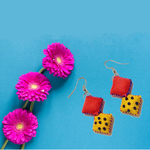 2 Blocks Embroidered Earrings
