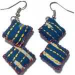 2 Blocks Indigo Fabric Embroidered Earrings