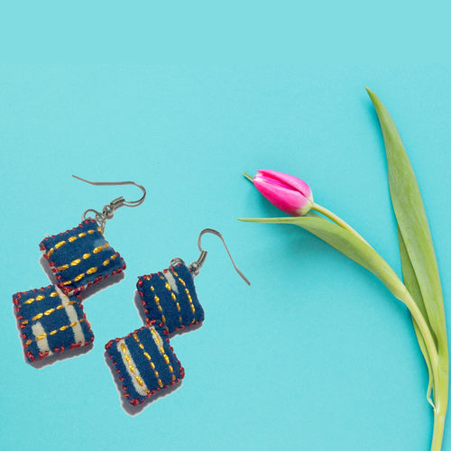 2 Blocks Indigo Embroidered Earrings