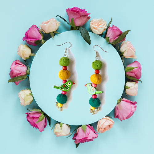 3 Blocks Embroidered Earrings
