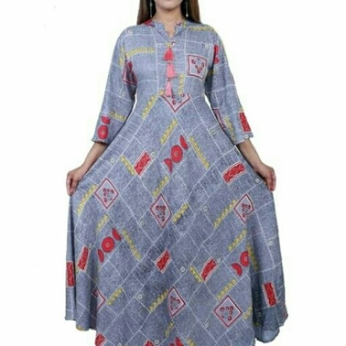 Rayon long flaired kurti