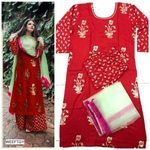 Rayon kurti with plazo and duptta