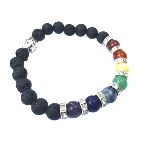 Lava Mixed Chakra Bracelet - Round Beads