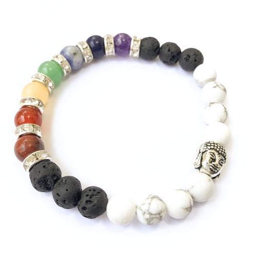 Howlite Mixed Chakra Bracelet - Round Beads