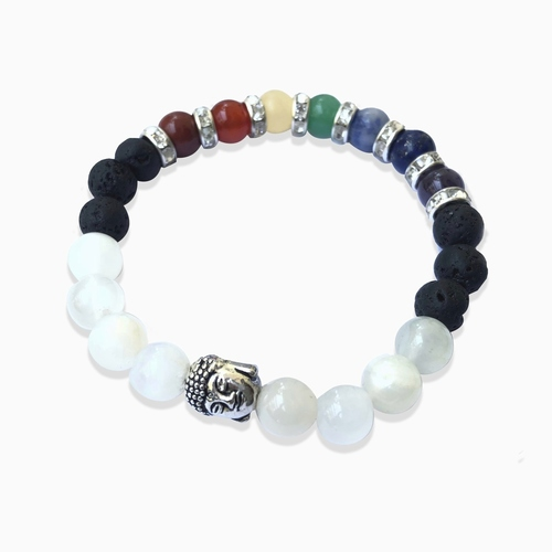 Moonstone Mixed Chakra Bracelet - Round Beads