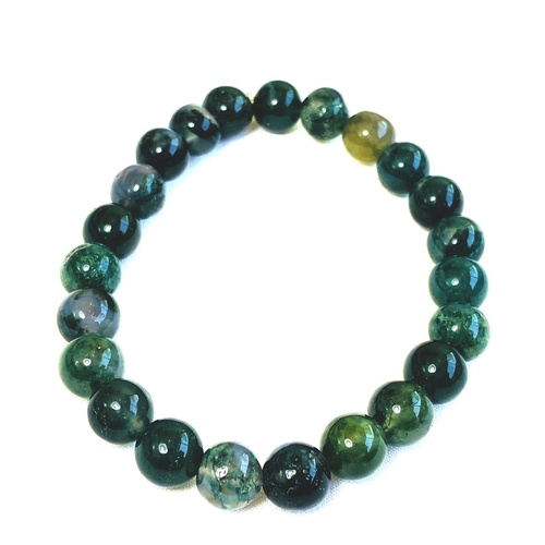 Moss Agate Bracelet - Round Beads
