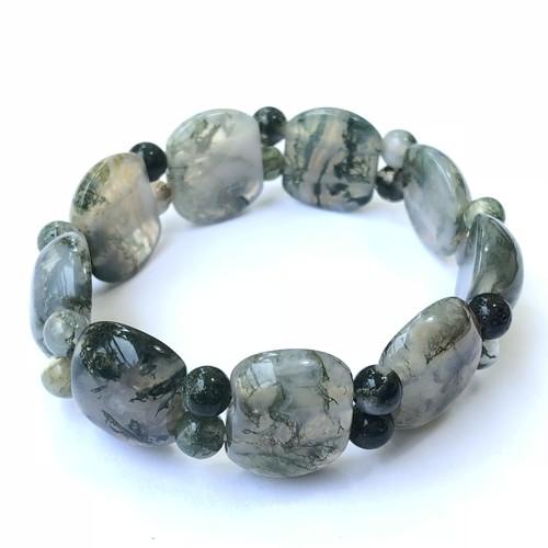 Green Onyx Bracelet - Flat Beads (Medium)