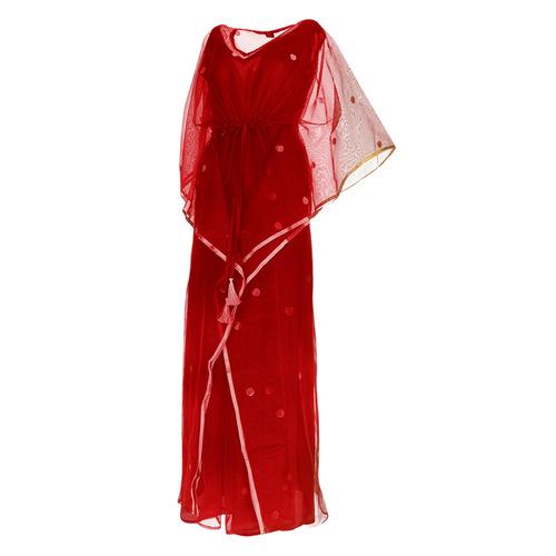 Side view of JEWEL red kaftan resort maxi dress set