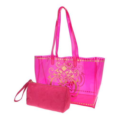 View of JEWEL transparent pink PVC tote bag with pouch removed