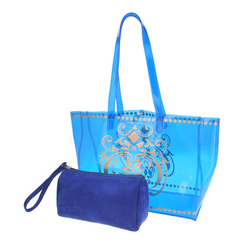 View of JEWEL transparent blue PVC tote bag with pouch removed