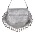 Back view of CHARMAINE sharp silver shoulder bag with pearls