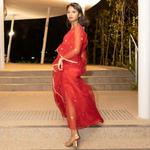Model wearing JEWEL red kaftan resort maxi dress set
