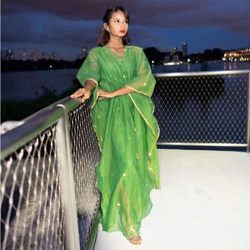Model wearing JEWEL kaftan resort maxi dress set