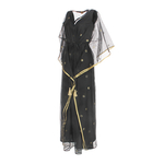 Side view of JEWEL black kaftan resort maxi dress set