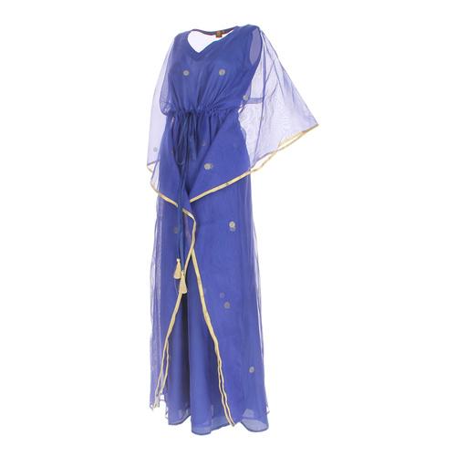 Side view of jewel blue kaftan resort maxi dress set