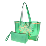 View of JEWEL transparent green PVC tote bag with pouch removed