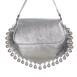 Front view of CHARMAINE sharp silver shoulder bag with pearls