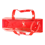Top interior view of JEWEL transparent red PVC tote bag with pouch inside