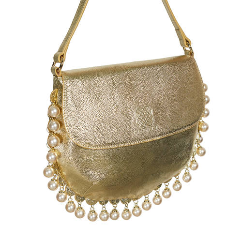 Side view of CHARMAINE round gold shoulder bag with pearls