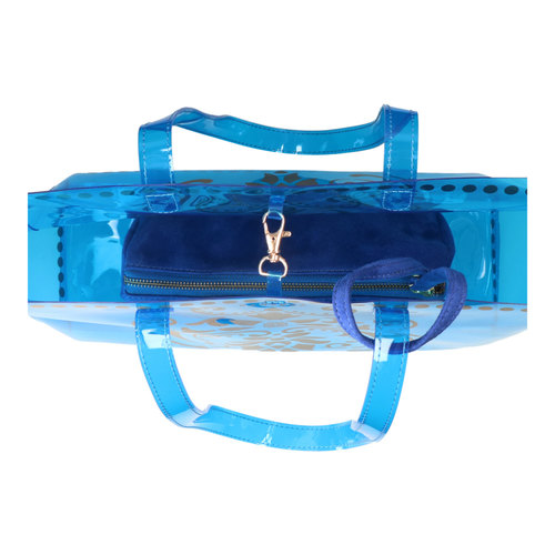 Top interior view of JEWEL transparent blue PVC tote bag with removable pouch