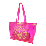 Side view of JEWEL transparent pink PVC tote bag with pouch inside