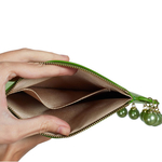 Interior view of CHARMAINE round green clutch bag with pearls