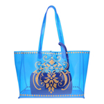 Front view of the JEWEL transparent blue PVC tote bag with removable pouch inside