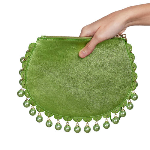 Back view of CHARMAINE round green clutch bag with pearls