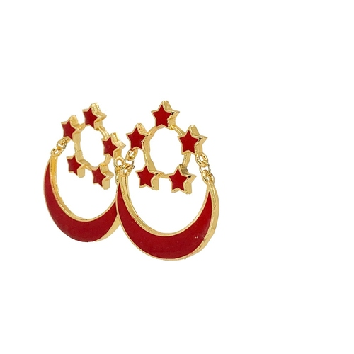 Side view of SINGAPORE ENSIGN earrings.