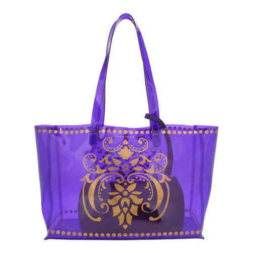 Front view of JEWEL transparent purple PVC tote bag with pouch inside