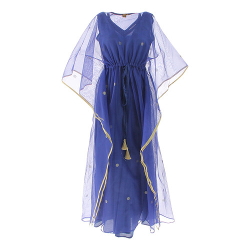 Front view of JEWEL blue kaftan resort maxi dress set