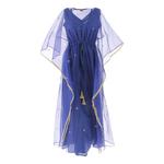 Front view of JEWEL blue kaftan resort maxi dress set