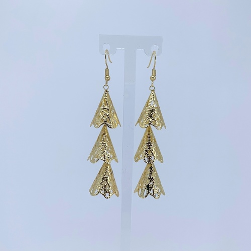 Front view of RAJNI gold tone tier-drop earrings