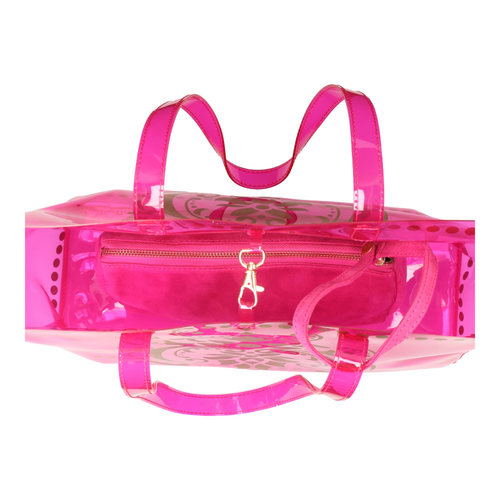 Top interior view of JEWEL transparent pink PVC tote bag with pouch inside