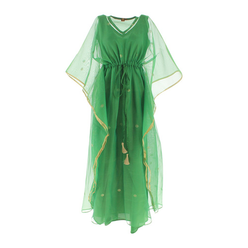 Front view of JEWEL green kaftan resort maxi dress set