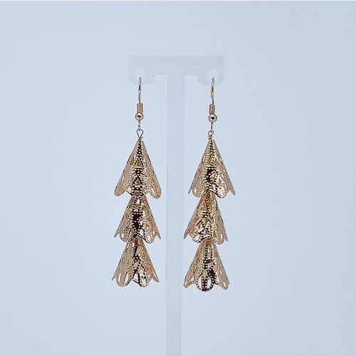 Front view of RAJNI rose gold tone tier-drop earrings