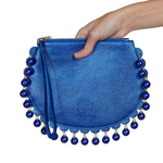 Front view of CHARMAINE round blue clutch bag with pearls